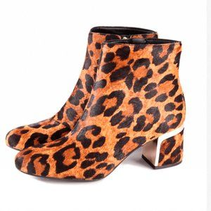 DKNY Cow Fur Leopard Print Corrie Ankle Boot